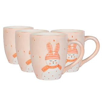 4x Easter Bunny Mugs Hand Painted Buffet Party Serveware Tableware 9.5cm White