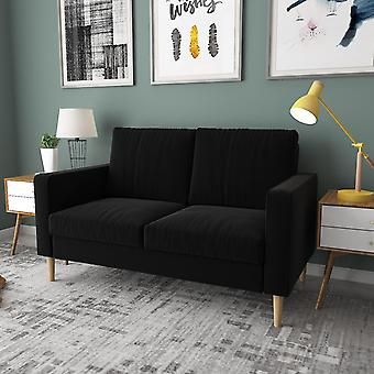 Double Seat Sofa Compact Loveseat Couch 2 Seater Armrest Linen Upholstery