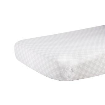 Hoja de cuna muslina de algodón de plaid gris glaciar