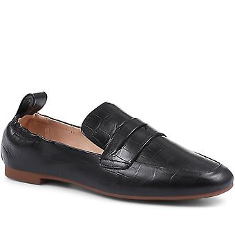 Staccato Womens Leather Croc-Effect Penny Loafer