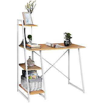 Schreibtisch Computertisch Eckschreibtisch PC-Tisch Brotisch mit 4 Regalebenen
