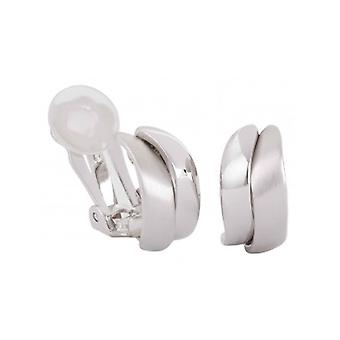 Traveller Clip Earrings Matt Shiny Rhodium Plated - 155101 - 424