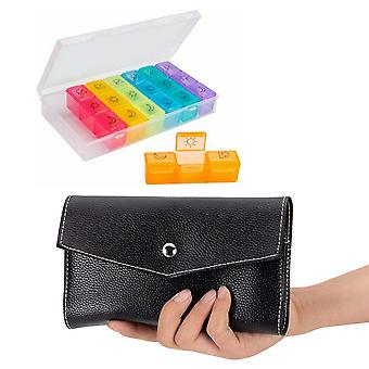 21-grid 7 Days Plastic Medicine Box Pill Case Travel With Leather Bag