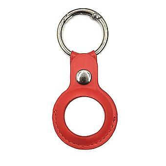 Pour airtags pu cuir étui de protection anti perdu porte-clés rouge