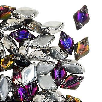 التشيكية GemDuo الزجاج، 2 حفرة الماس على شكل حبات 8x5mm، 8 غرام، الضباب الأرجواني الخلفية