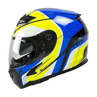 Nitro N2300 Pioneer Full Face Motorcycle Helmet Black Blue Yellow White