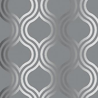 Zilveren Trellis Platina Gemetalliseerd papierbehang