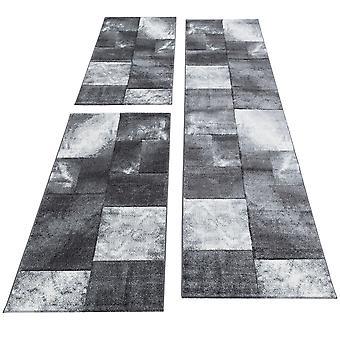 Bed Border Runner Carpet Moderne Designer Runner Set Ternet Lines Mønster Flettet 3 dele Sort Grå Hvid