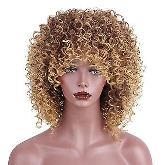 Afro kinky curly wig with bangs synthetic wig mixed ombre grey and black wig for women