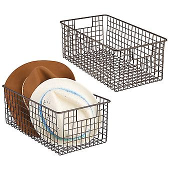 mDesign Metal Wire Storage Basket Bin with Handles for Closets, 2 Pack - Bronze