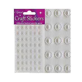48 perle hvite runde Sun stil juvelen klistremerker for håndverk
