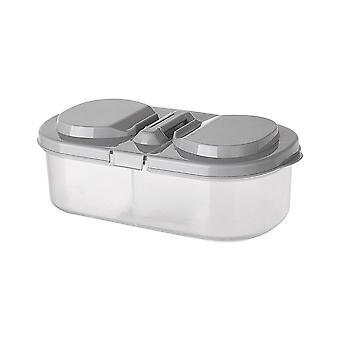 10Pcs  2 Grids Kitchen Storage Box Sealing Food Storage Container Preservation Plastic Refrigerator