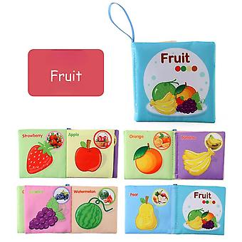 Infant Early Learning Educational Toys Children's Fabric Book 2-6 Years Old Children's English Cognitive Book-(fruit)