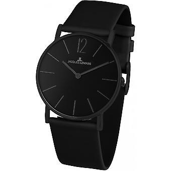 Jacques Lemans Negro Cuero Genuino 1-2030K Reloj de Mujer