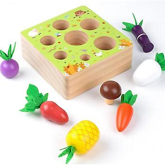 Diikamiiok Wooden Farm Harvest Game Montessori Toy, Early Learning Toy