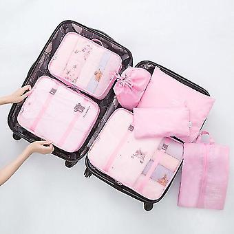 Ensemble de 7 pièces de cubes et de pochettes d'organisateur de voyage d'emballage de bagages (rose clair)