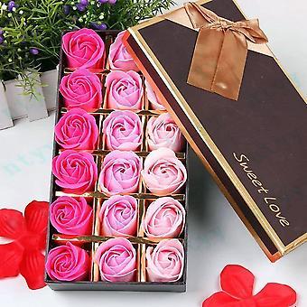 18 piezas perfumado baño baño baño cuerpo jabón pétalos de rosa en caja de regalo (rosa)