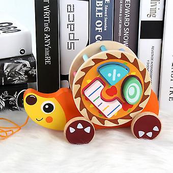Drewniana przyczepa dla dzieci Zabawki do modelowania zwierząt Pasujące drewniane kognitywne klocki edukacyjne zabawki dla dzieci (jeż)