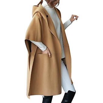 kvinner woolen cape poncho kappe åpen front cardigan jakke outwear