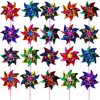 plast regnbue vindmølle fest plen dekor, assorterte farge 100 stk