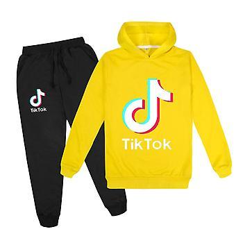 Yellow Tik Tok Kids Hoodie Pants Suit Girls Long Sleeve Tracksuit Sportswear Sets