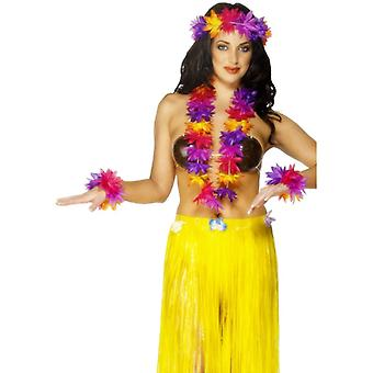 Blumenketten Set Hawaiikette Hula 4-teilig