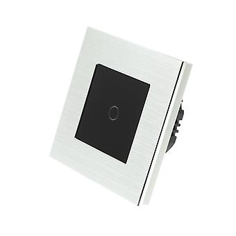 I LumoS Silver Brushed Aluminium 1 Gang 1 Way Remote & Dimmer Touch LED Light Switch Black Insert