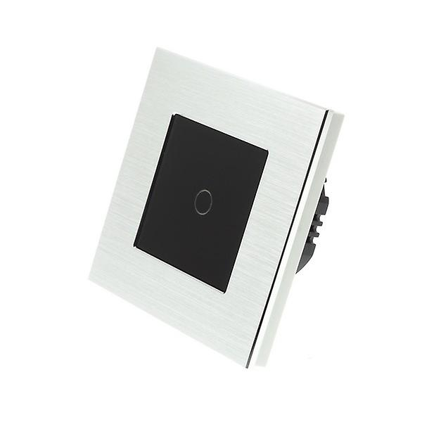 I LumoS Silver Brushed Aluminium 1 Gang 1 Way Touch Dimmer LED Light Switch Black Insert