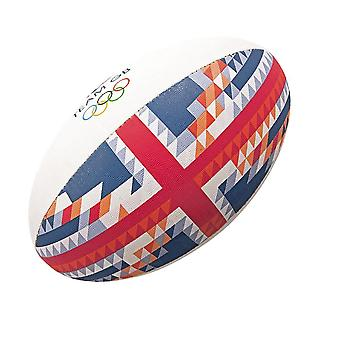 GILBERT Team GB offizielle olympische MIDI Rugby-Ball [rot/blau]