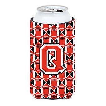 Letter Q Football Scarlet and Grey Tall Boy Beverage Insulator Hugger