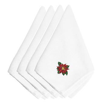 Christmas Poinsetta Embroidered Napkins Set of 4