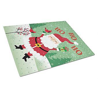 Merry Christmas Santa Claus Ho Ho Ho Glass Cutting Board Large