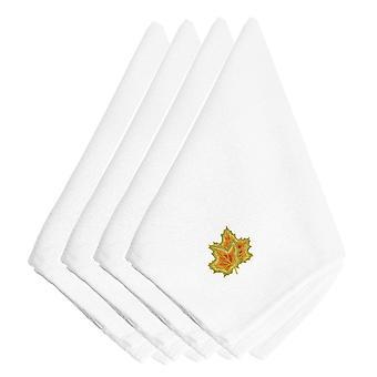 Feuilles d'erable en automne Carolines trésors EMBT3446NPKE brodé serviettes de table lot de 4