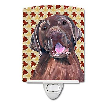 Labrador Chocolate Fall Leaves Portrait Ceramic Night Light