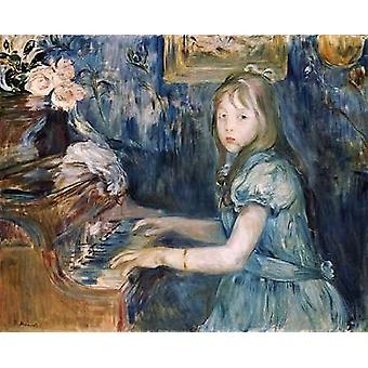 Lucie Leon at The Piano Poster Print by Berthe Morisot