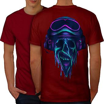 Metal Rock skalle Biker män RedT-shirt tillbaka | Wellcoda