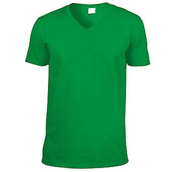 Gildan Mens manga curta camiseta de algodão gola v Softstyle