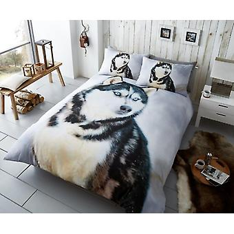 3D Animal Husky Dog Premium Duvet Quilt Cover Bedding Set