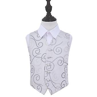 Silver Scroll Wedding Waistcoat for Boys