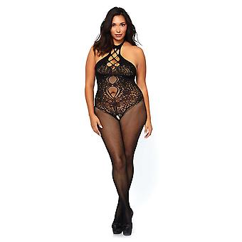 Womens Plus Size Sexy Fishnet Seamless Halter Cut Out Lace Bodystocking Lingerie