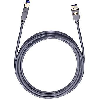 Oehlbach USB 3.0 ケーブル [1 x USB 3.0 コネクタ B x USB 3.0 コネクタ A - 1] 3 m 黒、金メッキ コネクタ