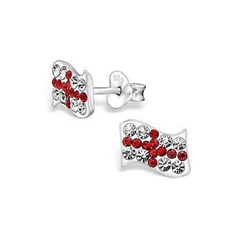 Union Jack Wear  Union Jack Sterling Silver ENGLAND St George Cross Crystal Studs - Earings
