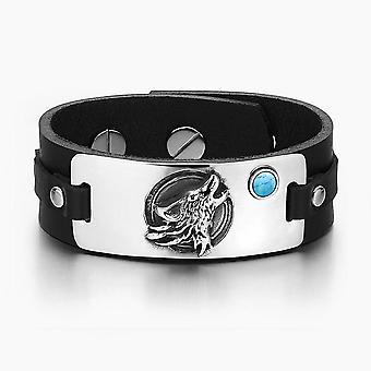 Heulender Wolf Wild Moon Mut Amulett Tag simuliert Türkis einstellbar schwarz Leder-Armband