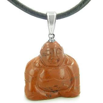 Glücksbringer glücklich sitzt Buddha Amulett roter Jaspis Edelstein Anhänger Kabel Halskette glauben