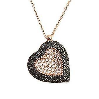心形项链与黑色和白色水晶镶嵌玫瑰金