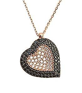 Heart necklace with black and white crystal encrusted rose gold
