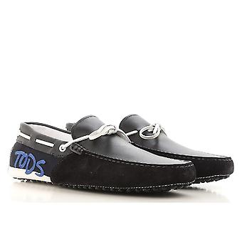 Tod's men's gommino driving moccasins in black suede leather