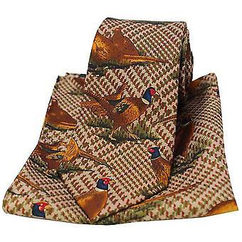 David Van Hagen fasaner slips og Pocket Square Set - Brown