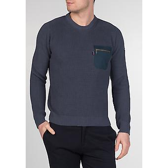 Merc TUFNELL, men's cotton military style crewneck jumper with zip pocket