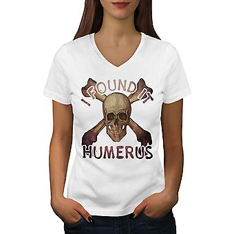 I Found It Humerus Women WhiteV-Neck T-shirt | Wellcoda